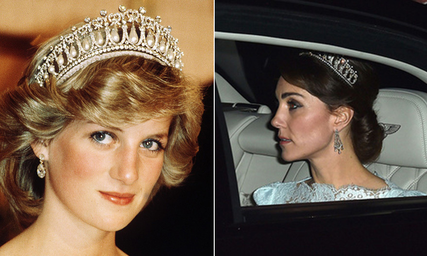 Her sapphire ring isn't the only heirloom Kate has come to treasure. The Duchess also chose a favorite tiara of Princess Diana's, the Cambridge Lover's Knot, for a reception hosted by the Queen at Buckingham Palace. 