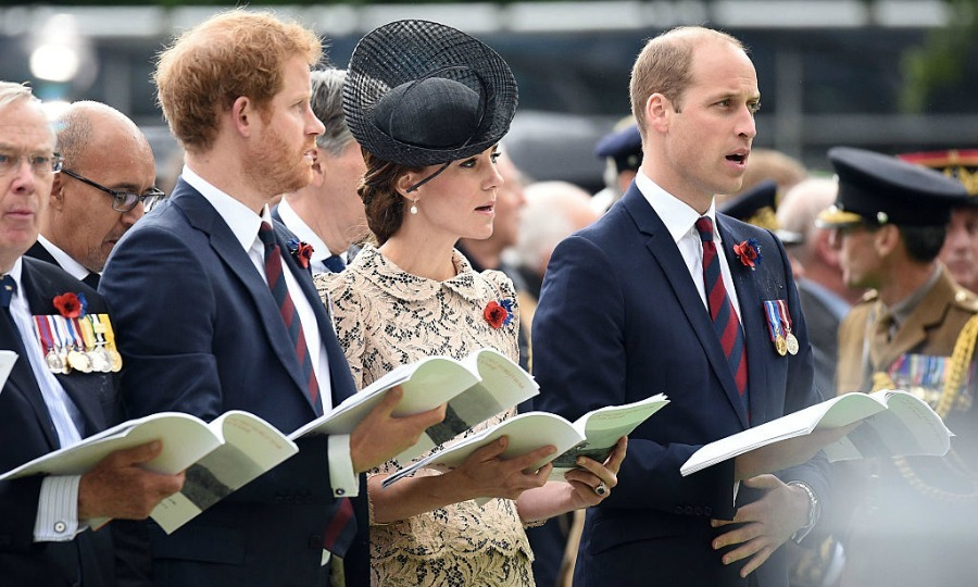 Harry and the Cambridges sang along during the centenary commemoration of the Battle of the Somme.