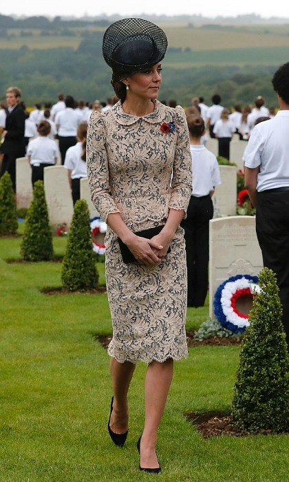 As per usual, Kate was the picture of sophistication stepping out in a bespoke lace peplum dress that featured a peter pan collar and three-quarter sleeves.