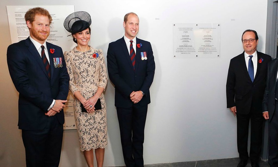 Harry, Kate and William toured a new visitors' center at the Lutyens-designed Thiepval Monument to the Missing of the Somme with French President Francois. 