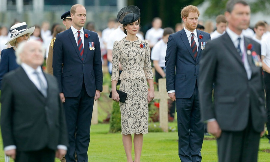 The royal couple and Prince Harry paid their respects as they somberly stood guard at the memorial ceremony.