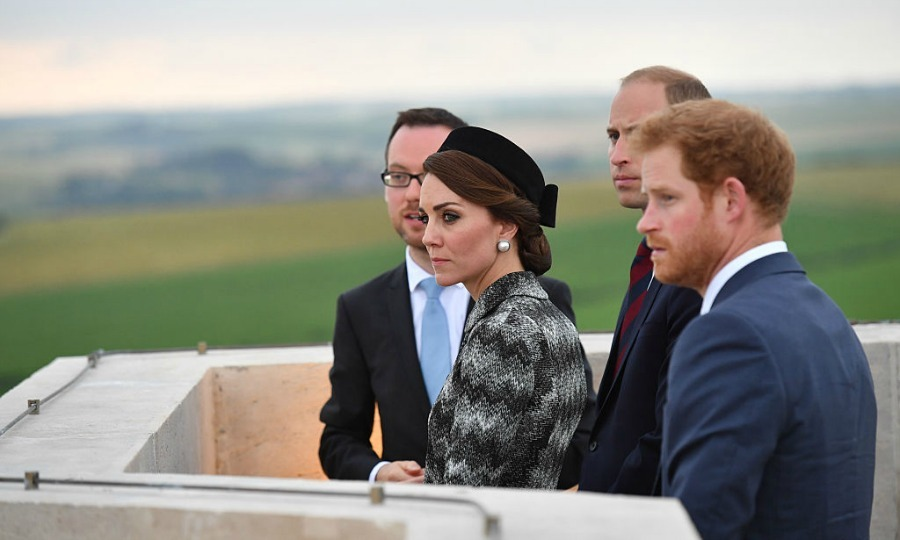 Earlier in the day, the Duke and Duchess of Cambridge along with Harry visited the Thiepval Memorial.