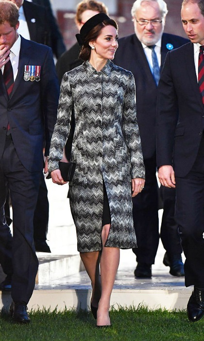 The mom-of-two looked chic wearing a black, white and grey zigzag print coat by Missoni for the solemn occasion. Kate topped off her look with a black vintage-style pillbox hat.