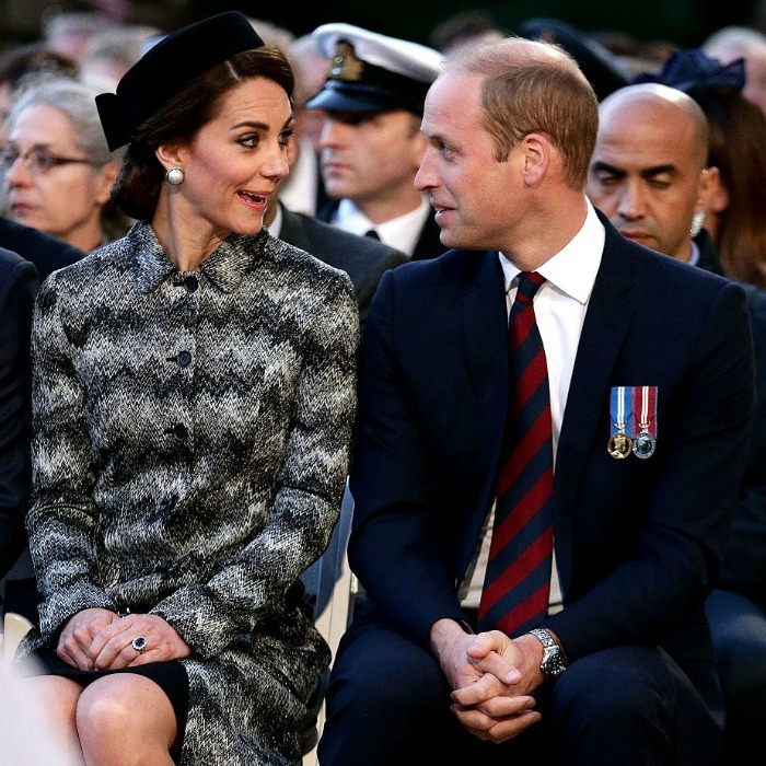 The Duke and Duchess shared a silly moment together amidst the somber engagement.