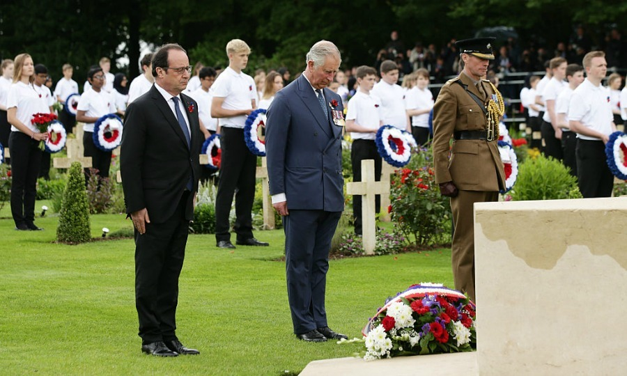 President Francois Hollande and Prince Charles paid their respects after laying wreaths at the Cross of Sacrifice.