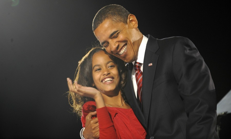 Barack and Malia celebrated his win as the 44th president of the United States with a hug. 