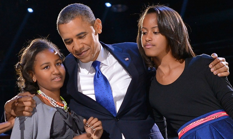 2012: President Obama hugged both of his daughters on election night, while celebrating the announcement of his second presidential term. 