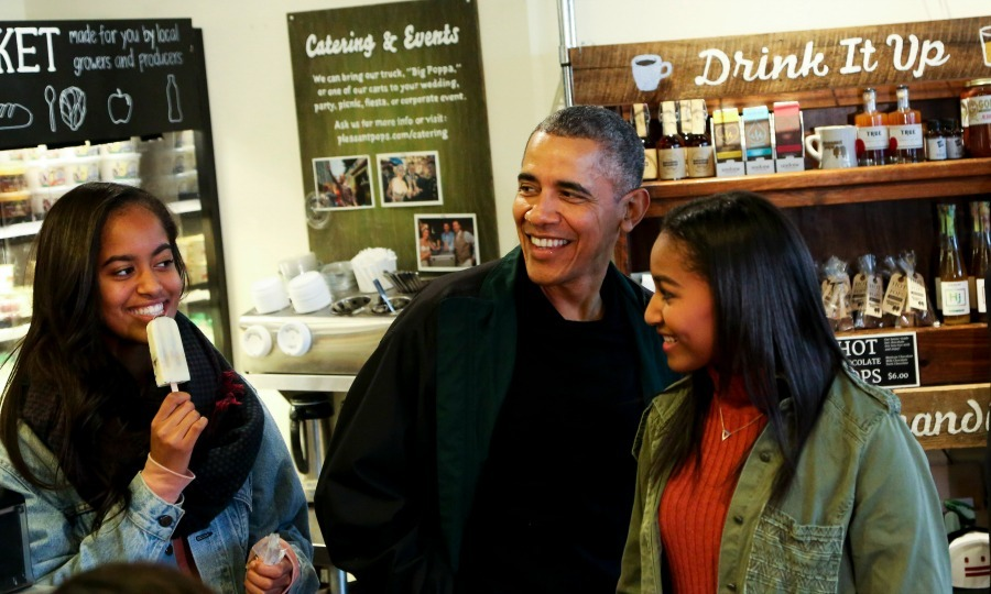 Barack treated his two girls to ice cream during Small Business Saturday in Washington, D.C. 