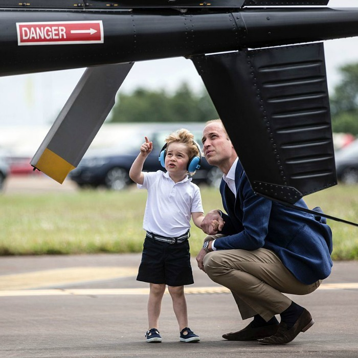 George and Will shared a sweet father-son moment observing a Squirrel helicopter.