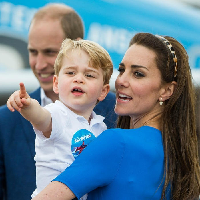 It's a bird, it's a plane, no it's George! The royal tot excitedly pointed out aircrafts to his mom.