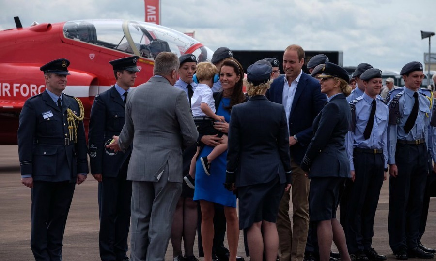 Kate, who is an Honorary Air Commandant of the Air Cadets, met with Air Cadets. During their meeting, the RAFcadets gave Prince George a little blue savings pig as a souvenir of the organization's 75th anniversary.