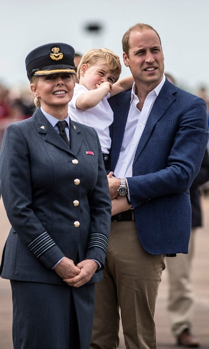 Prince William and Prince George watched an air display with Carol Vorderman, who is an Ambassador for the RAF Air Cadets.