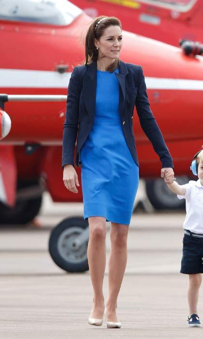 For a royal engagement at the Royal International Air Tattoo at RAF Fairford in Gloucestershire, Kate opted for a striking blue Stella McCartney dress, which she accesorized with navy blue Smythe blazer and nude pumps.