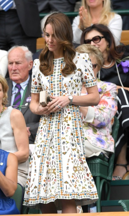 Also during the summer of 2016, Kate showed up in style to support Andy Murray during the Wimbledon Men's Final. The Duchess chose one of McQueen's fun numbers, a dress printed with butterflies, lipstick and other funky prints. 