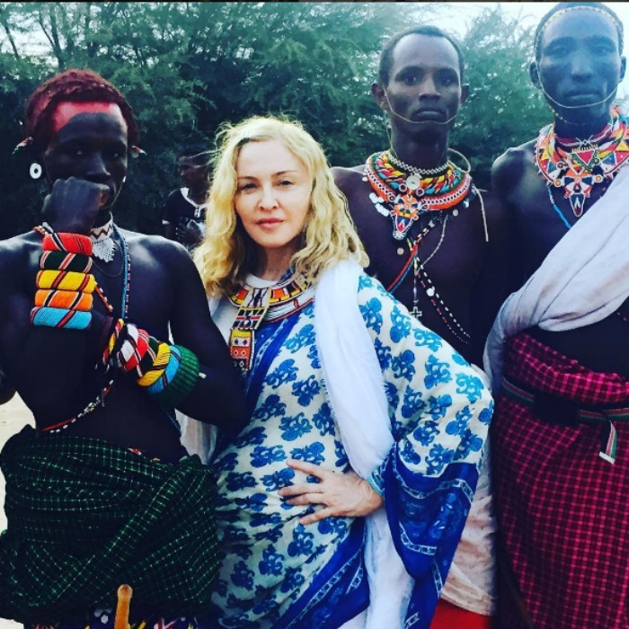 "Madonna honored the Samburu tribe in the Rift valley with a photo saying, ""Such an honor to stand next to these beautiful people.""