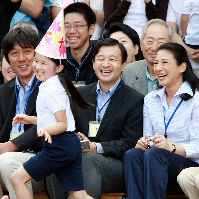 The Emperor and Empress-to-be to be watched on gleefully as their only child danced around with fellow students at her school's athletic festival in 2007.