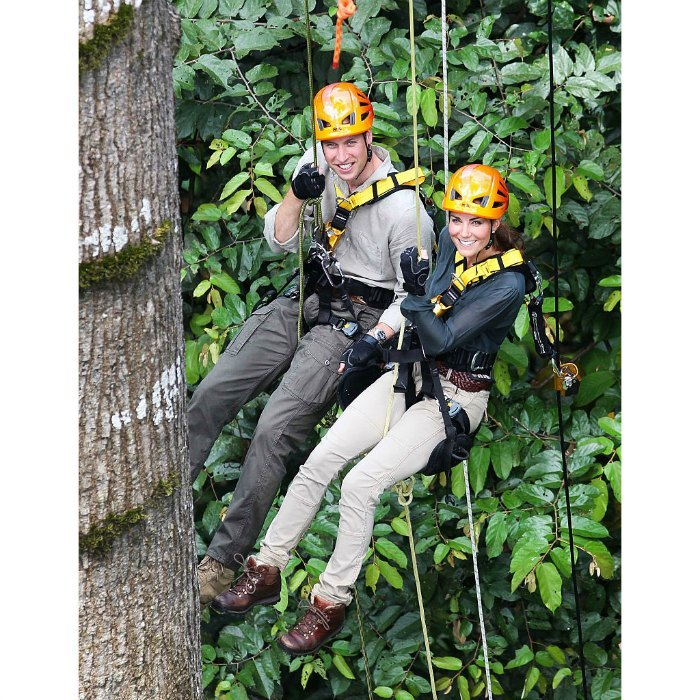 Kate had a go at abseiling with Prince William through the rainforest of the island of Borneo back in 2012 during their Jubilee Tour of the Far East and South Pacific.