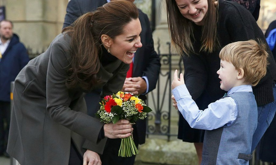 Theo Hayward had the Duchess of Cambridge in stitches after presenting her with flowers at the GISDA center in north Wales.  