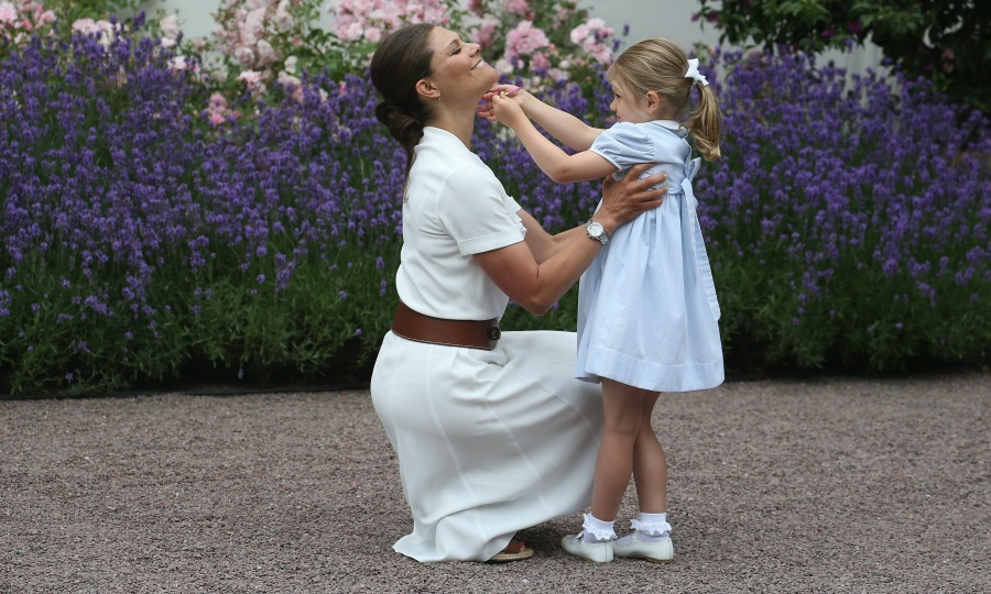 Princess Estelle and Princess Victoria shared a silly moment. 
