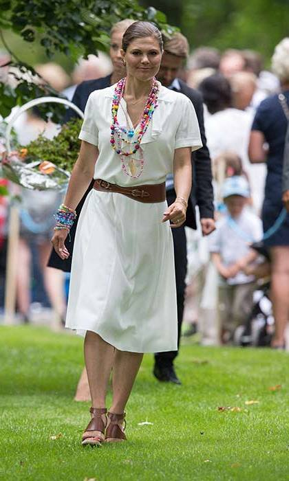 Princess Victoria celebrated her birthday in a white summer dress with tan accessories.