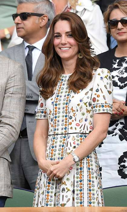 The Duchess of Cambridge looked glamorous in an Alexander McQueen dress at the Wimbledon finals on Sunday.