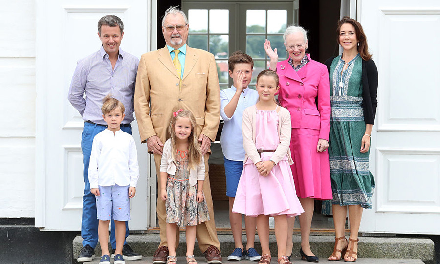 "The adorable twins were joined by their parents Crown Prince Frederik and Crown Princess Mary, their grandparents, <a href=""https://us.hellomagazine.com/tags/1/prince-henrik/""><strong>Prince Henrik</strong></a> and Queen Margrethe II, and their older siblings, Prince Christian and Princess Isabella for the Danish royal family's 2016 summer photo session.