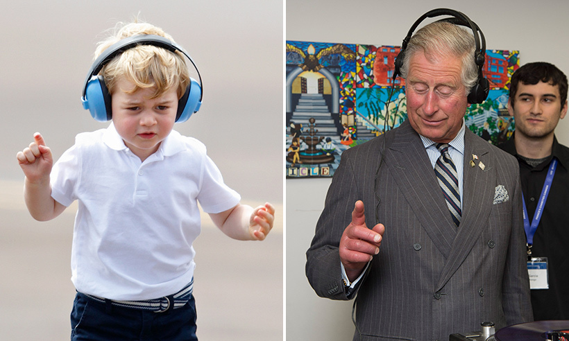 He gets it from his grandpa! Prince George rocked a pair of headphones like Prince Charles (and even nailed the senior royal's dancing finger move).
