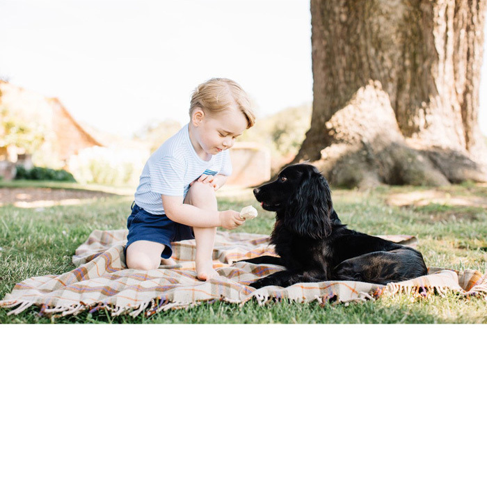"Man and George's best friend! The little Prince gave his dog Lupo a lick of his ice cream cone during a garden picnic. Attached to the photo, the palace wrote: ""Can't believe it's been three years already!""