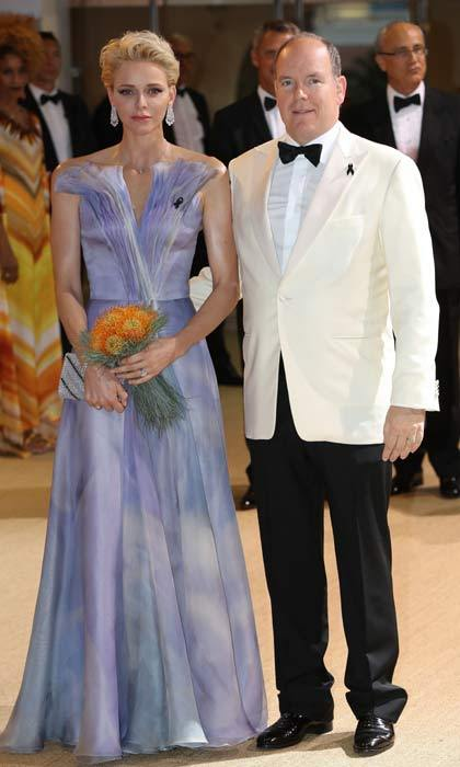 Lovely in lavander. Princess Charlene was the belle of the 68th annual Red Cross Ball on Saturday evening. The 38-year-old Monaco royal was accompanied to the gala by her husband Prince Albert.