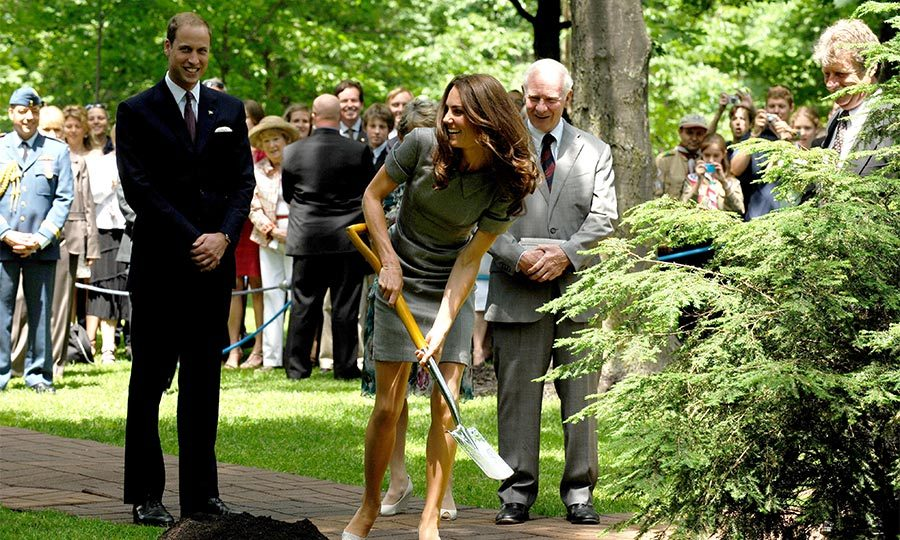 On day three, the Duchess got down and dirty shoveling  during a tree planting ceremony at Rideau Hall in Ottawa, Canada. 