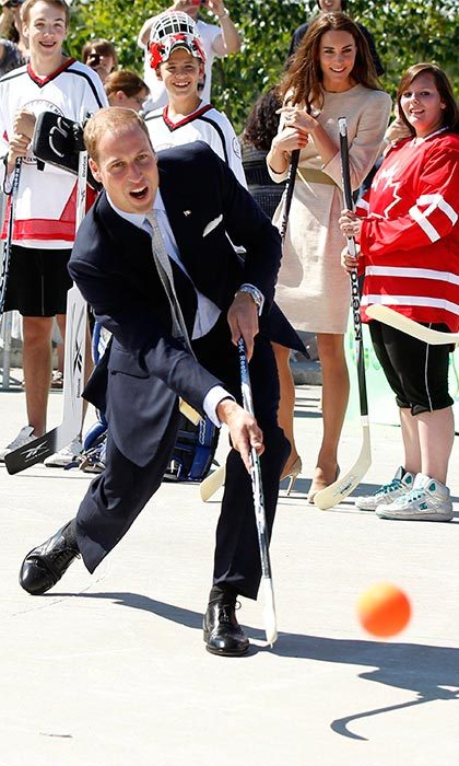 On day six of the tour, Prince William tried his hand at 'shinny' or street hockey, while in Yellowknife. Unfortunately the royal didn't manage to get any of his three shots past the over six foot tall goalie, Calvin Lomen. 