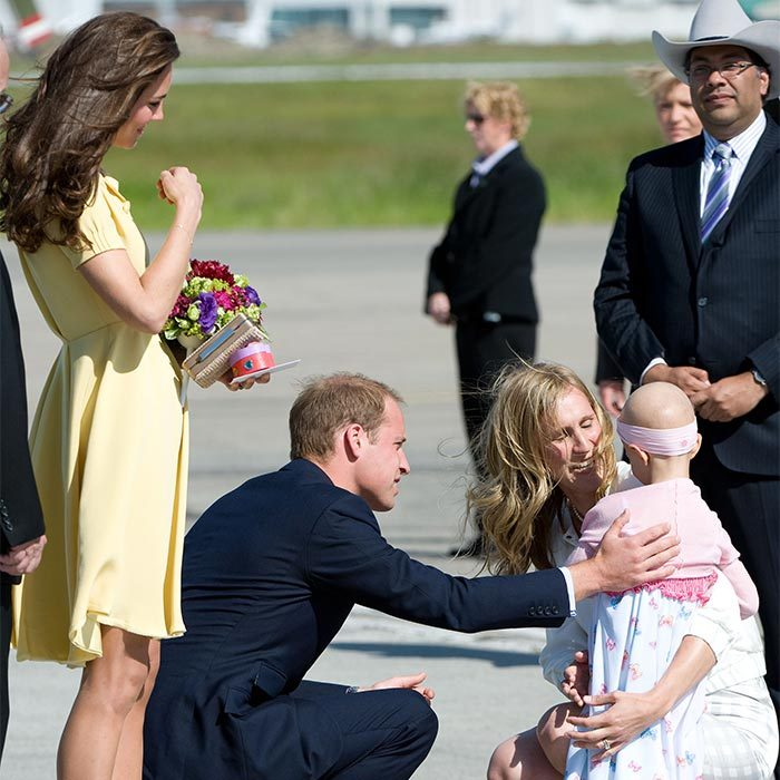 After meeting with officials, the royal pair received flowers from six-year-old Diamond Marshall, who had stage four sarcoma cancer. 