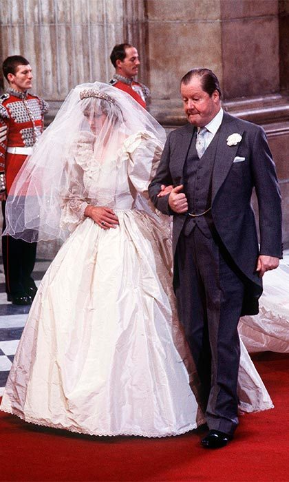 The beautiful 20-year-old bride was escorted by her father Earl Spencer for the three-and-a-half minute walk down the aisle.