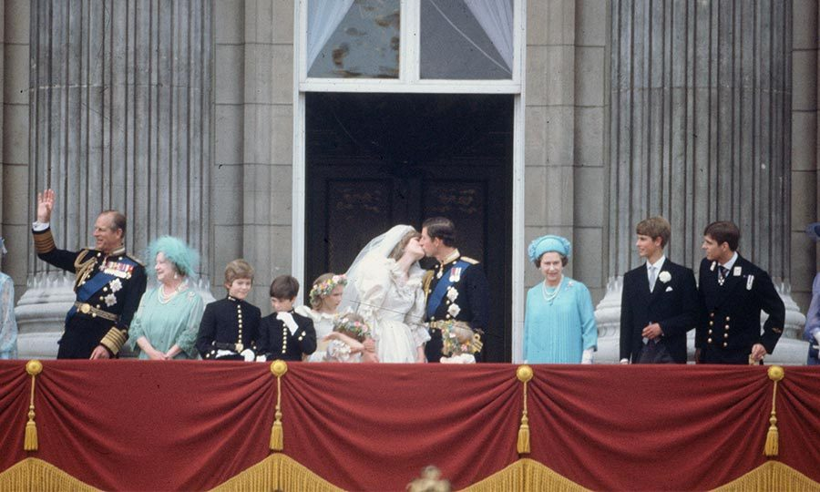 At ten minutes past one, Charles and Diana emerged on the balcony of Buckingham Palace with their wedding party, along with Queen Elizabeth and the Queen Mother, where they shared a public kiss. 