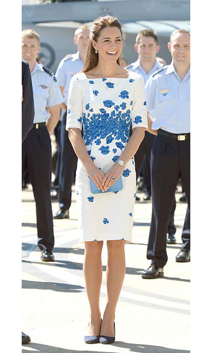 For a visit to the Royal Australian Air Force Base in Amberley, Kate chose a blue poppy print L.K. Bennett dress. She added some sparkle with sapphire and diamond drop earrings and a necklace by Mappin & Webb.