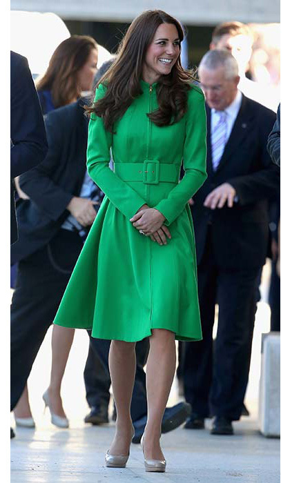 Kate had royal fans green with envy wearing an emerald Erdem coat for a 2014 visit to a children's hospital in New Zealand.