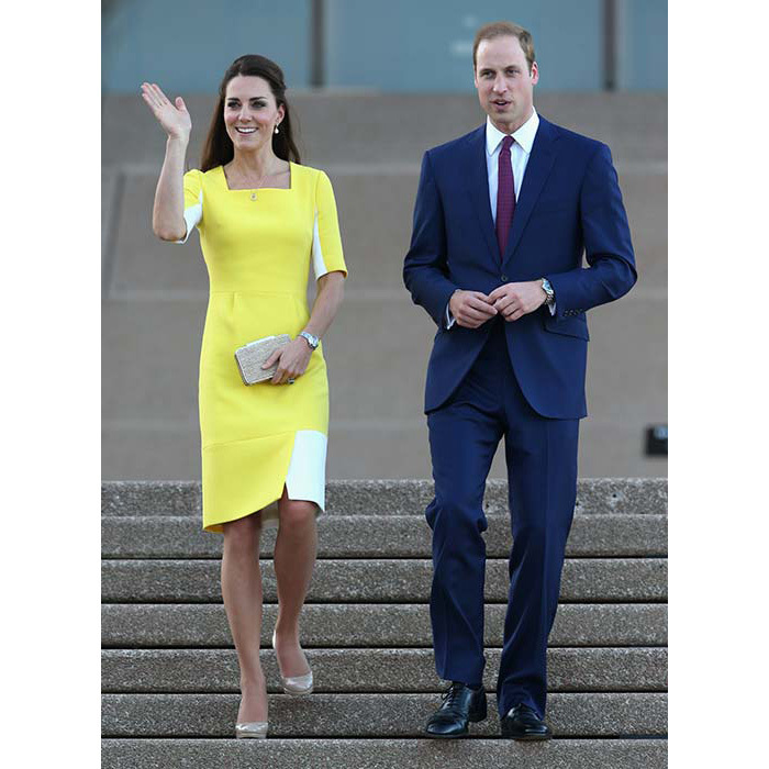 "Kate made a bold fashion statement in Australia wearing a canary yellow Roksanda Ilincic dress and nude L.K. Bennett pumps. She later revealed that on their way to the Sydney Opera House, the Duke told her she ""looked like a banana!""