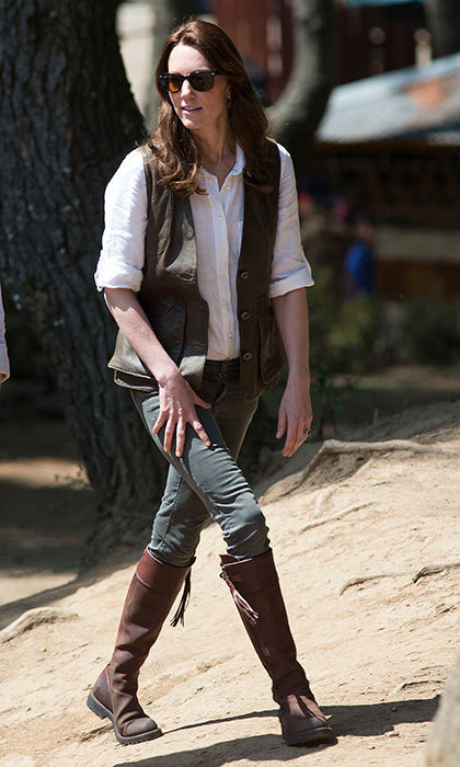 With a six-hour trek ahead of her, Kate opted for comfortable and easy-to-wear gear. But the ever stylish Duchess managed to make casual look chic as she began the grueling hike in Bhutan.
