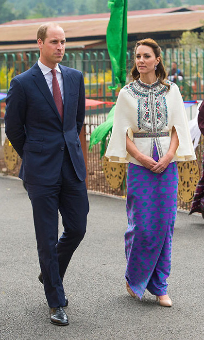 During her visit to Bhutan, Kate attended an archery event in a Paul & Joe top paired with a skirt made from material woven by local Bhutanese weaver Kelzan Wangmo.