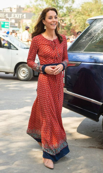 The Duchess of Cambridge opted for another Indian-inspired ensemble for day three of her royal tour of India. But this particular look came with a very affordable price tag. The long-sleeved floral-printed maxi dress from the budget brand Glamorous cost simply $67!