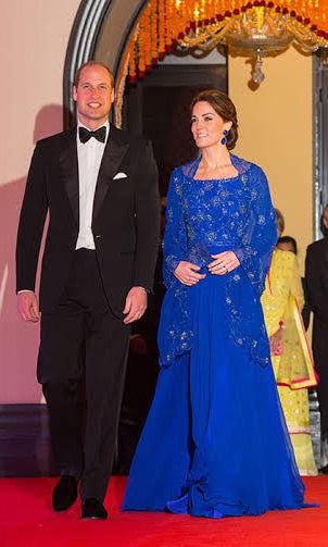 The royal's gown was another nod to her host country with its intricate beading, which had been carried out in India.