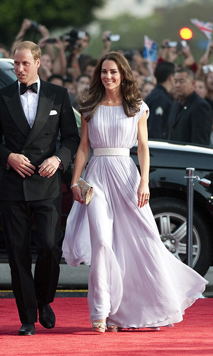 Kate exuded Hollywood glamour wearing a romantic Alexander McQueen gown and diamond earrings lent to her by Her Majesty for the 2011 BAFTA Brits Gala in Los Angeles.