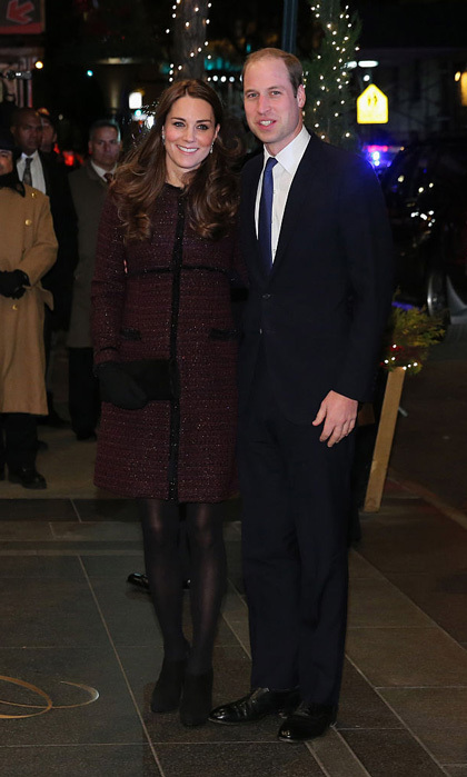 A then-pregnant Kate looked anything but jet-lagged arriving to New York City's Carlyle Hotel in 2014 wearing a Seraphine maternity coat and Stuart Weitzman suede pumps.