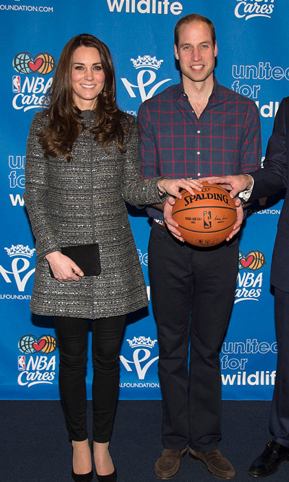 The Duchess was courtside chic for her first NBA game, sporting a tweed Tory Burch coat, black skinny jeans, and pumps.