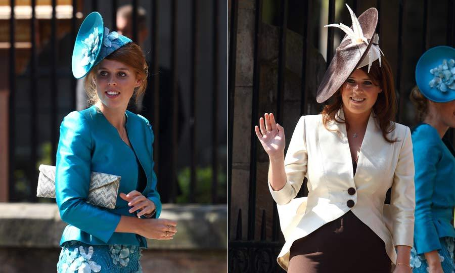 Stylish sisters! Princesses Beatrice and Eugenie both hit the right fashion notes with their fun and fashionable outfits at the wedding. 