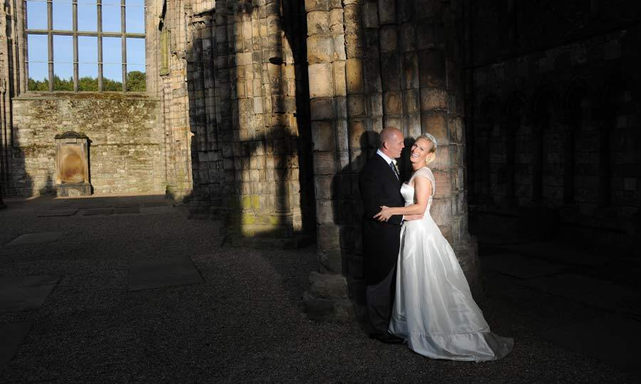 Following their emotional nuptials, the happy couple posed in Holyrood Abbey at the Palace of Holyroodhouse.