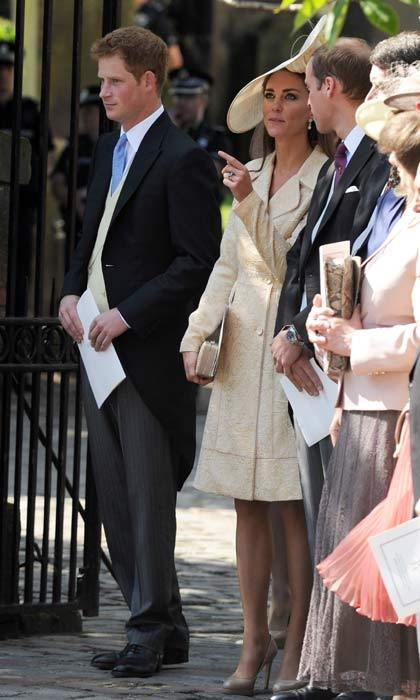 The royal trio; Prince Harry, Kate Middleton and Prince William, were spotted laughing and smiling outside the church before heading inside for the ceremony.