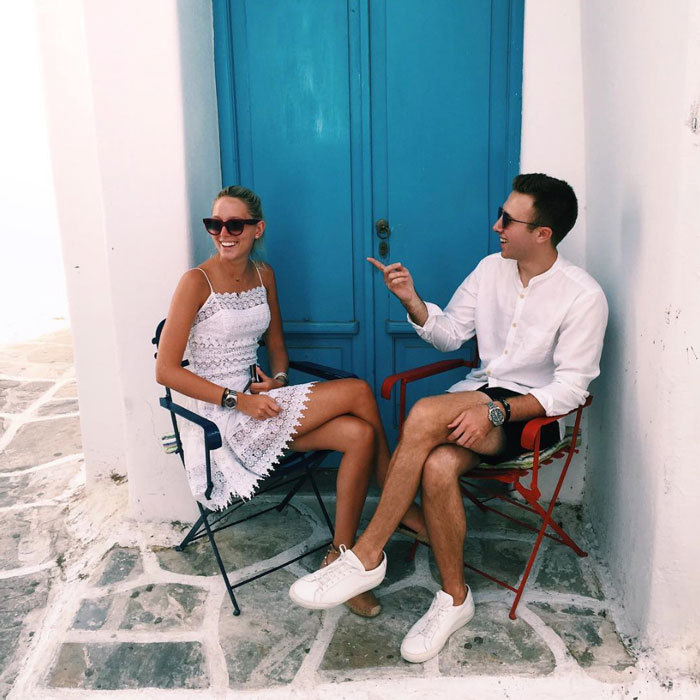 The birthday girl looked chic with wearing a little white dress and shades paired with a glowing tan, while out and about with friends on the Greek Island.