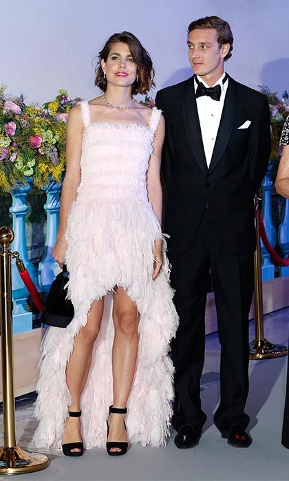 It was all eyes on Charlotte as she attended the Rose Ball wearing this frothy pink Chanel confection in 2013.