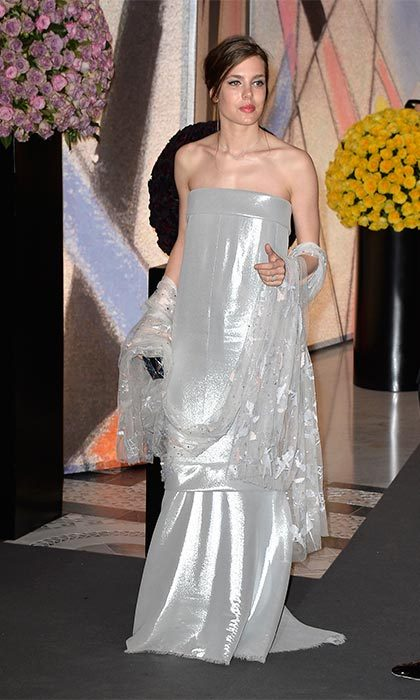 Shimmering in a silver Chanel gown at the Rose Ball in 2014.